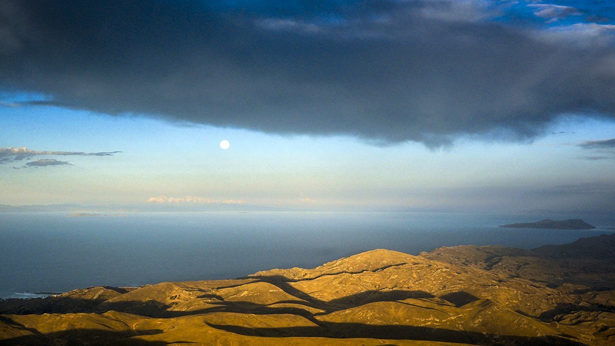 Moon over Lake Titicaca, Peru