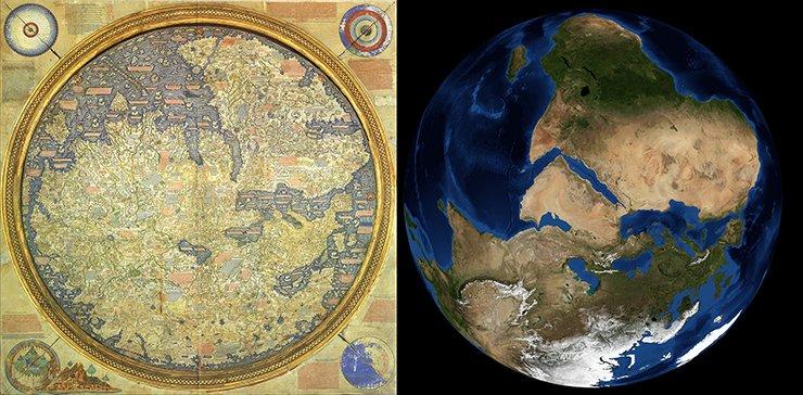 Fra Mauro's mappamundi compared to NASA photo.