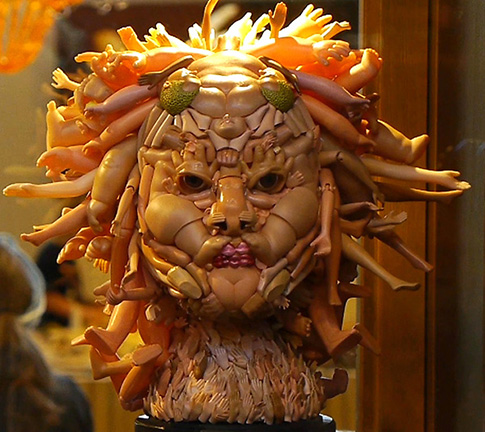 Medusa head made of doll parts