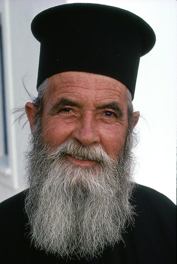 Priest, Santorini, Greece