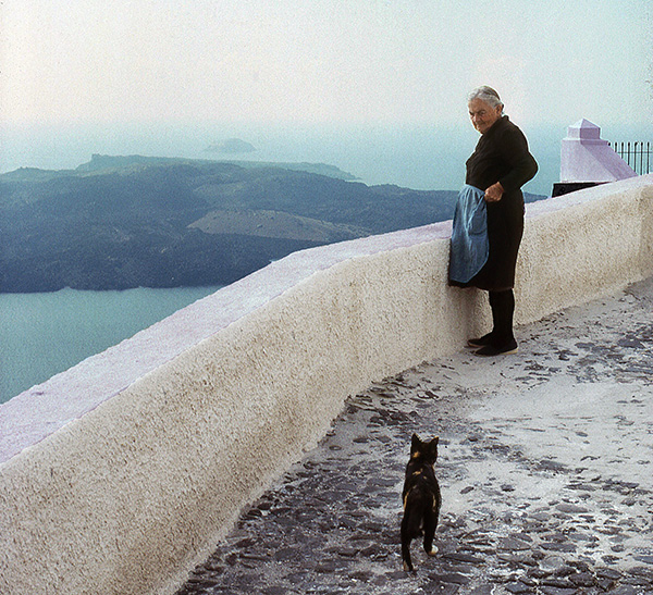 Old Woman and Cat, Santorini, Greece