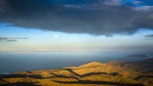 Moon over Lake Titicaca, Peru