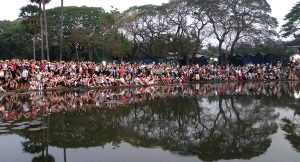 Tourists Waiting for the Sunrise at Angkor Wat