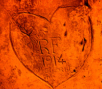 Heart carved on Champagne cave wall World War I